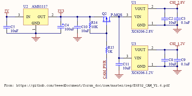 ESP32-CAM power supply circuit