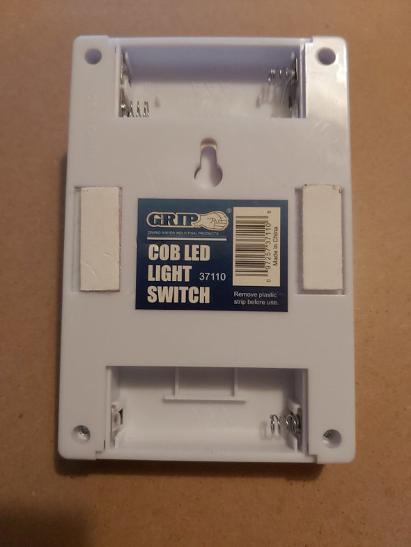 Back of LED lamp that looks like a light switch
