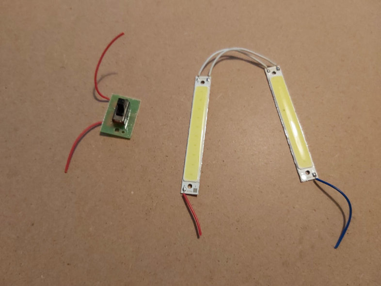 LED lamp showing removed switch and LEDs