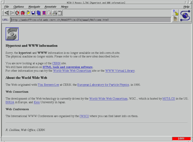 Picture of NCSA Mosaic web browser from the 1990s.